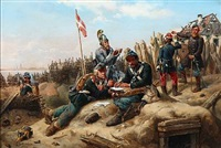 scene from the first schleswig war with danish soldiers writing letters home by niels simonsen