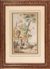 oiseaux d'ornement dans un parc, auprès d'un vase by abraham van stry the elder