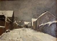 rue à barbizon sous la neige by lászló paál