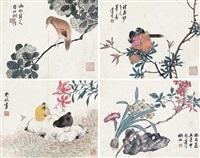 花鸟 册页 (五开选四) 纸本 (album of 5) by lian xi