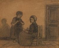 deux enfants pelotant la laine by jacobs (jakob) smits