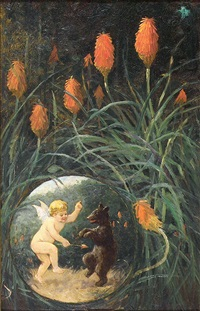 fairy and bear in garden by frederick stuart church