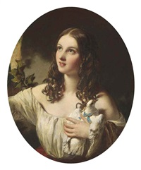 portrait of a young girl in a white muslin dress with a red sash, holding a dove by james sant