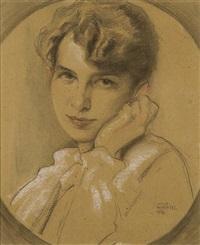 irma, the young woman portrait by wilhelm wachtel