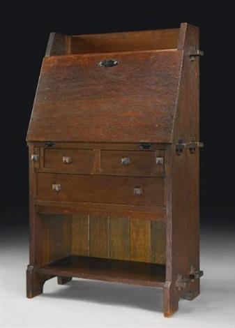 rare writing desk (model no.521) by gustav stickley