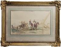 la guerre franco-prussienne de 1870: les dragons devant la ferme et cavaliers (pair) by théodore fort