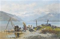 rive du lac de thoune à faulensee by auguste bachelin