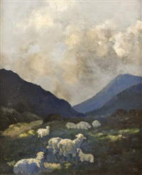 sheep grazing by lilian lucy davidson