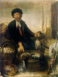 a poultry seller on a quay by gerard van donck