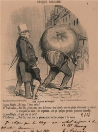 une leçon de botanique (+ 3 others; set of 4) by honoré daumier
