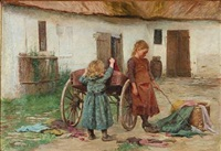 two girls playing in front of a farmer house by emilie (caroline e.) mundt