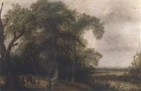 a wooded river landscape with figures on a track by willem van den bundel