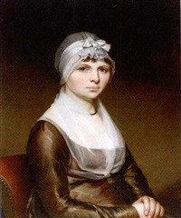 portrait of a lady, seated in a black dress and a lace bonnet by chester harding