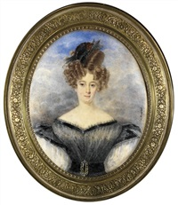 a young lady, in grey dress trimmed in black satin ribbon and large white puff sleeves... by de montval