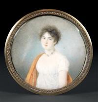 portrait de jeune femme en buste de trois-quarts vers la gauche presque de face en robe de voile blanc portant un collier de camées by jean antoine laurent