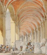 vue intérieure de la halle à la farine by pierre françois léonard fontaine