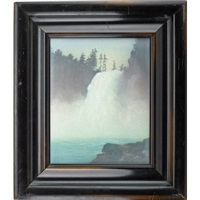 scenic vellum plaque with waterfall