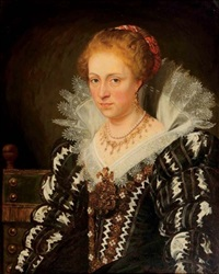 portrait of jacqueline of caestre in a black and white embroidered dress with a lace collar by jan adam janszoon kruseman