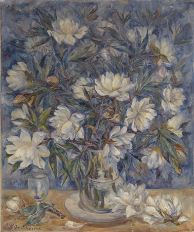 still life with magnolias and a glass by natalia sergeevna goncharova