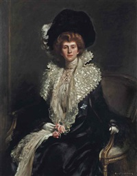 portrait of mrs haslam, seated three-quarter-length, in a white dress and pearl necklace by hugh de twenebrokes glazebrook
