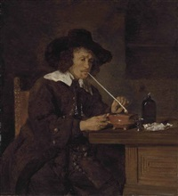 a smoker lighting his pipe by gabriel metsu