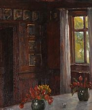 interior from the dining room at brøndum's hotel by helga ancher
