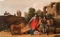 the death of the disobedient prophet (i kings, xiii: 24) by claes cornelisz moeyaert