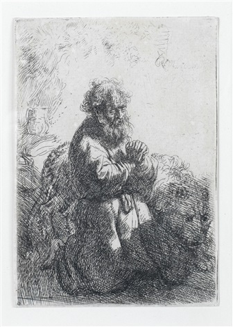 st jerome kneeling in prayer looking down by rembrandt van rijn
