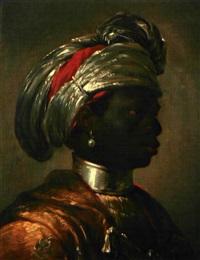 portrait d'un noir à la perle et au turban by matthäus loder