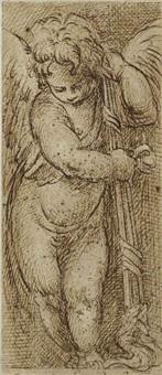 putto ailé s'appuyant sur un flambeau retourné by parmigianino