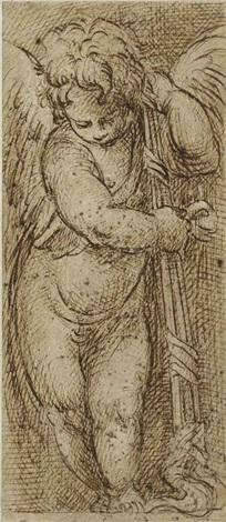 putto ailé sappuyant sur un flambeau retourné by parmigianino