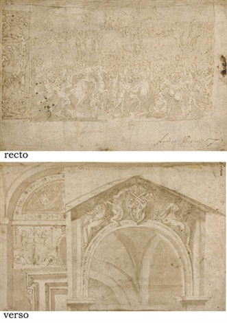 a battle scene with soldiers assaulting a city and a study of a frieze studies of a doorway with an elaborate lunette verso by andrea boscoli