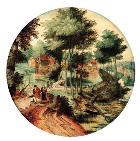 promeneurs sur un chemin près dun village by pieter brueghel the younger
