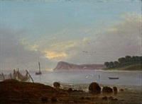 a coastal scene in the evening by frederik michael ernst fabritius de tengnagel