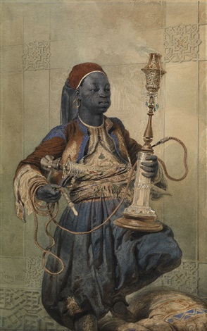 nubian with a waterpipe by mihály von zichy