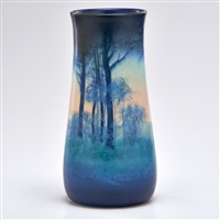 scenic vellum vase decorated with forest by e.t. hurley