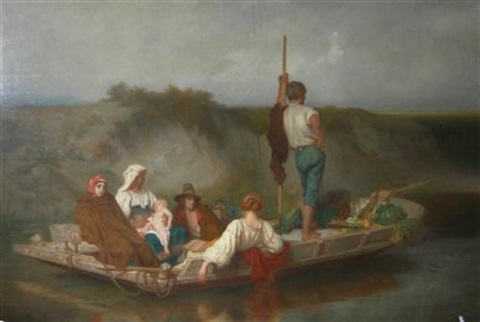 a christian family fleeing by john rogers herbert