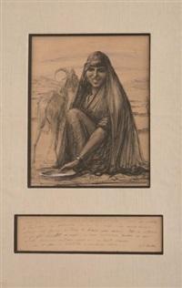 portrait d'une bergère tunisienne aux lèvres scarifiées et sa chèvre by georges alfred bolle