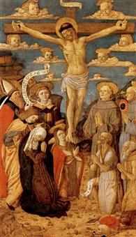 crosifissione con i santi agostino, lorenzo, francesco d'assisi, bernardino da siena, giovanni battista e girolamo by italian school-lombardy (15)