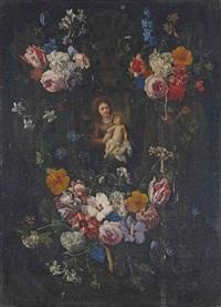 vierge à l'enfant dans une couronne de fleurs by nicolas van verendael and erasmus quellinus