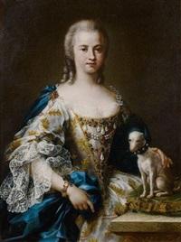 portrait de dame de qualité avec son chien by sebastiano ceccarini