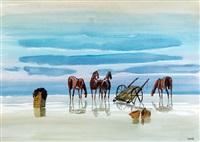 caballos en la playa by carlos uriarte