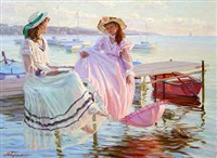 scene from normandy with two girls on a jetty by aleksandr averin