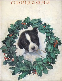 puppy holding wishbone in mouth surrounded by wreath (magazine cover illus. for life) by warren b. davis