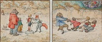 eight animal scenes (8 works in 4 frames) by louis maria niels peder halling moe