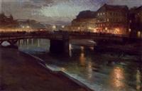 abendstimmung am donau canal - marienbrücke by richard harlfinger