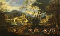 fête villageoise devant un bourg près d'une rivière by angeluccio