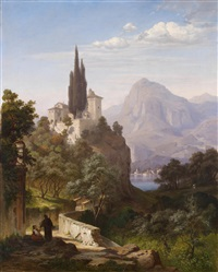blick auf einen oberitalienischen see (menaccio am comer see?) by hermann (august) kruger