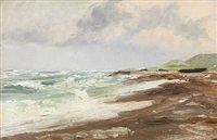 beach scene from skagen in denmark by carl ludvig thilson locher