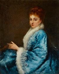 portrait de jeune femme en robe bleue by maurice poirson